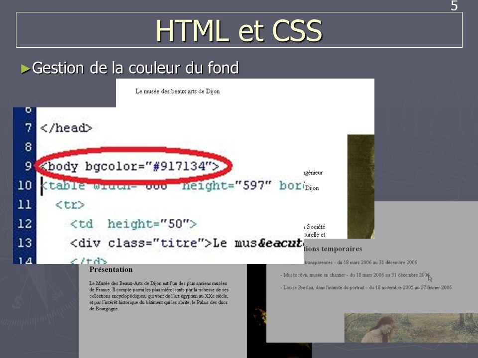 5 HTML et CSS Gestion de la couleur du fond Gestion de la couleur du fond