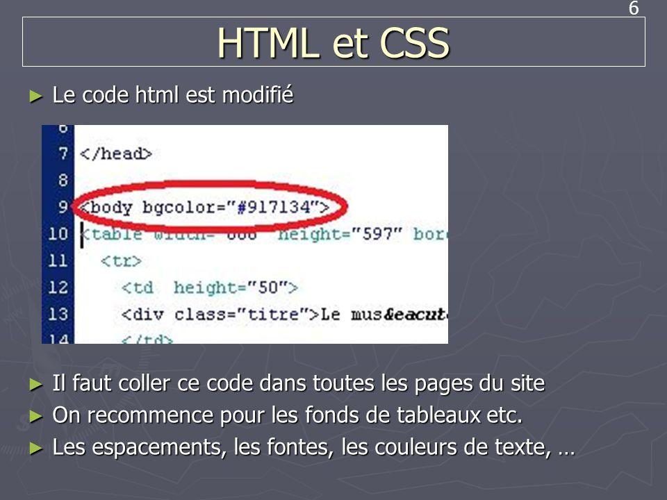 6 HTML et CSS Le code html est modifié Le code html est modifié Il faut coller ce code dans toutes les pages du site Il faut coller ce code dans toute