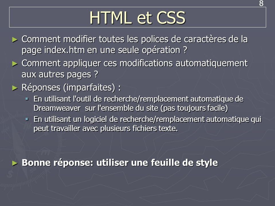8 HTML et CSS Comment modifier toutes les polices de caractères de la page index.htm en une seule opération ? Comment modifier toutes les polices de c