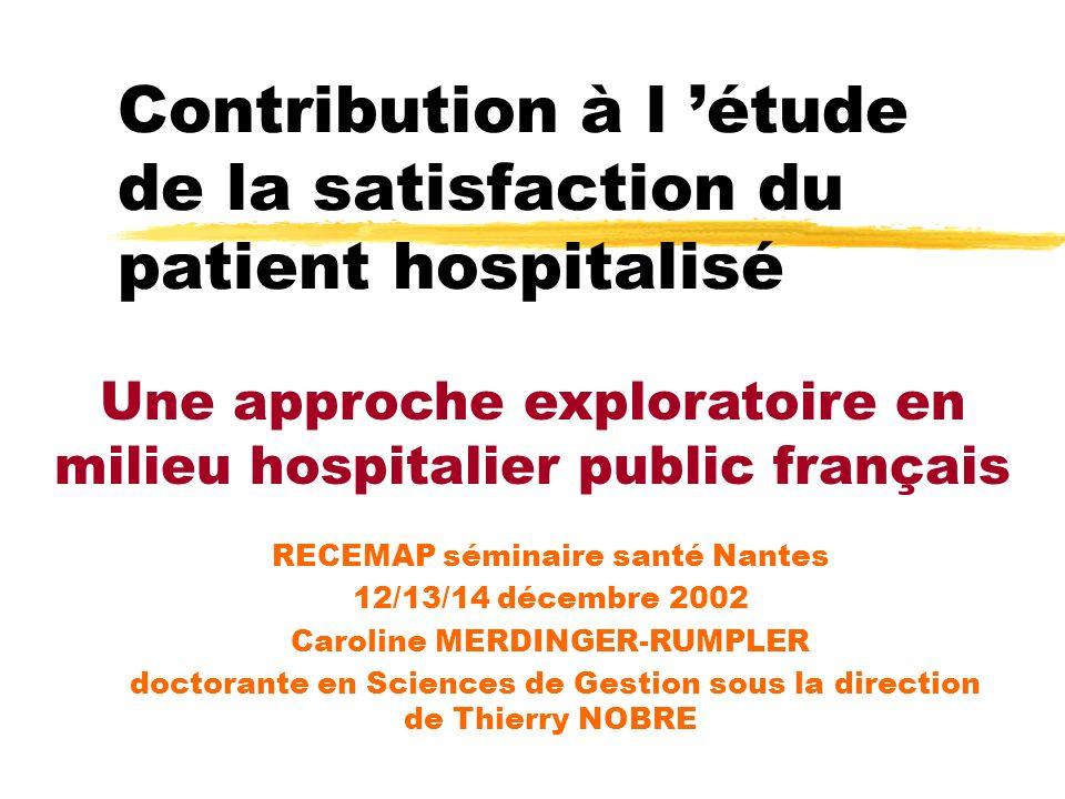 Contribution à l étude de la satisfaction du patient hospitalisé RECEMAP séminaire santé Nantes 12/13/14 décembre 2002 Caroline MERDINGER-RUMPLER doct