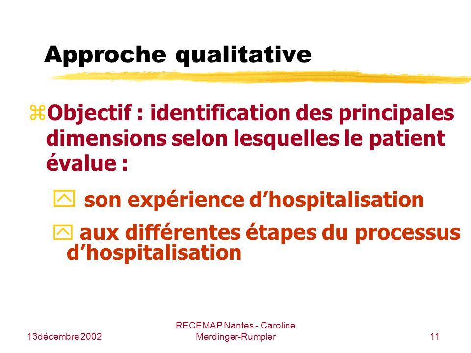 13décembre 2002 RECEMAP Nantes - Caroline Merdinger-Rumpler11 Approche qualitative zObjectif : identification des principales dimensions selon lesquel