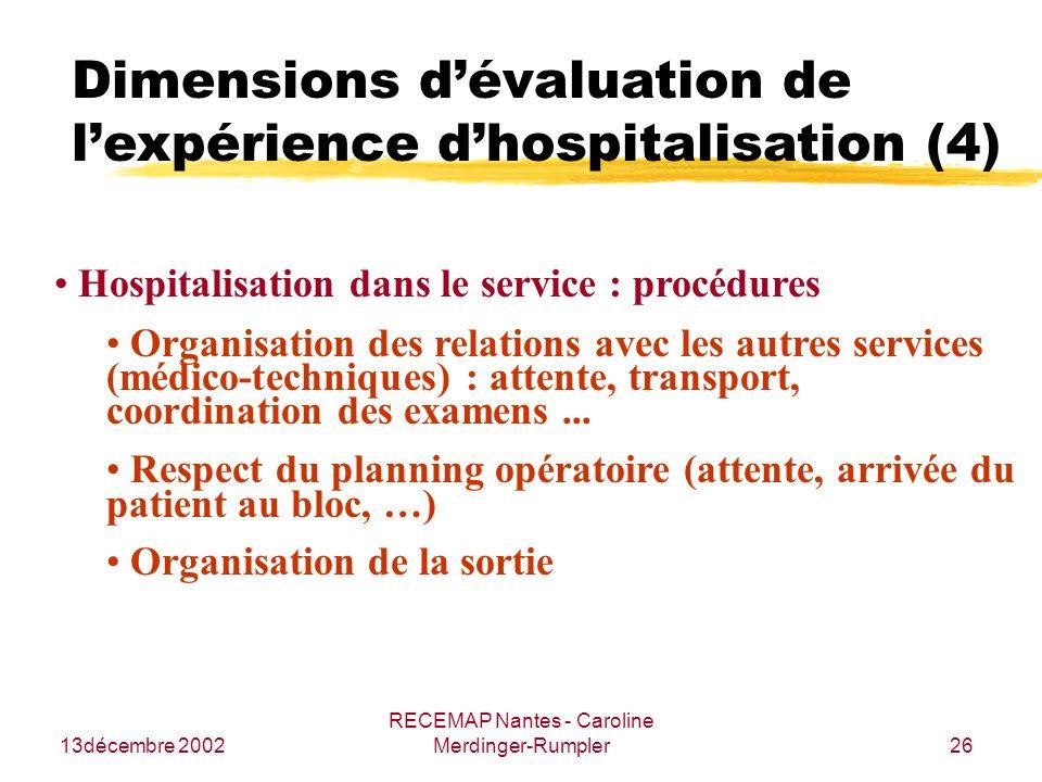 13décembre 2002 RECEMAP Nantes - Caroline Merdinger-Rumpler26 Dimensions dévaluation de lexpérience dhospitalisation (4) Hospitalisation dans le servi