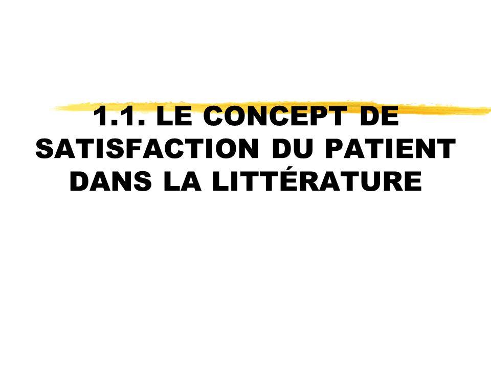 1.1. LE CONCEPT DE SATISFACTION DU PATIENT DANS LA LITTÉRATURE