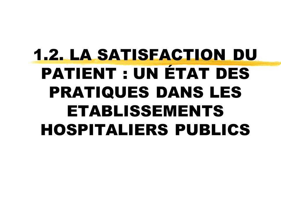 1.2. LA SATISFACTION DU PATIENT : UN ÉTAT DES PRATIQUES DANS LES ETABLISSEMENTS HOSPITALIERS PUBLICS