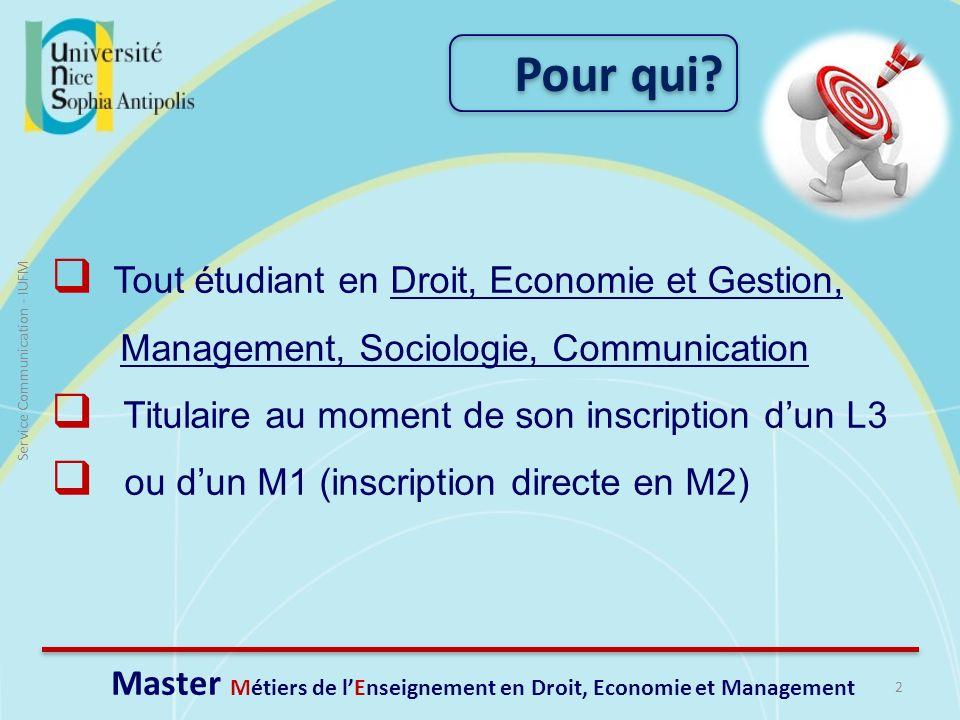 Pour qui? 2 Service Communication - IUFM Master Métiers de lEnseignement en Droit, Economie et Management Tout étudiant en Droit, Economie et Gestion,