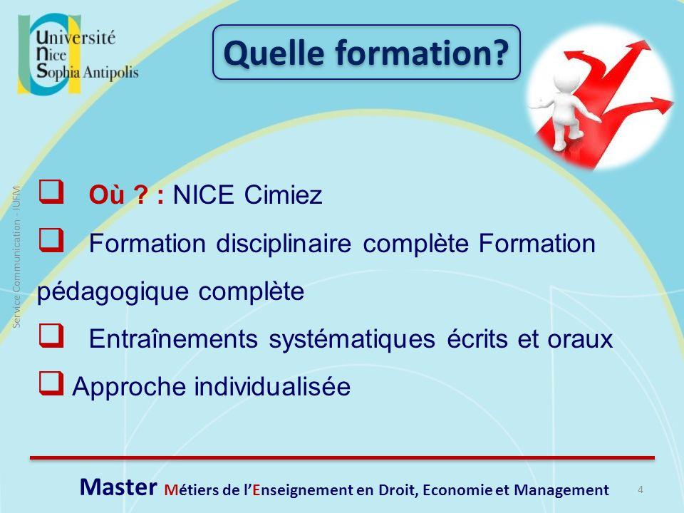 5 Service Communication - IUFM Formation initiale classique: cursus classique de master.