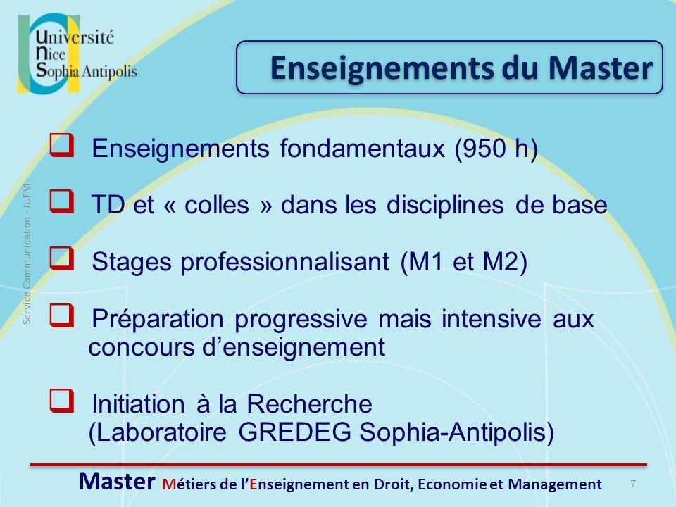 7 Service Communication - IUFM Enseignements fondamentaux (950 h) TD et « colles » dans les disciplines de base Stages professionnalisant (M1 et M2) P