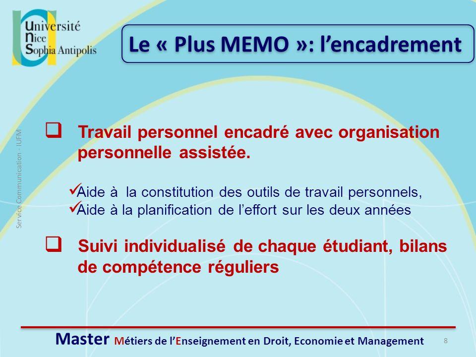 8 Service Communication - IUFM Travail personnel encadré avec organisation personnelle assistée. Aide à la constitution des outils de travail personne