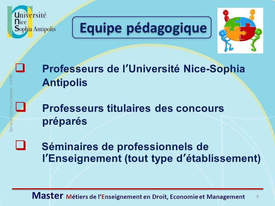 9 Service Communication - IUFM Master Métiers de lEnseignement en Droit, Economie et Management Equipe pédagogique Professeurs de lUniversité Nice-Sop