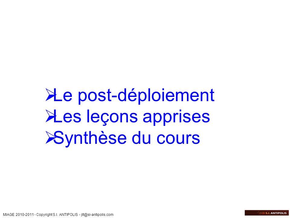 MIAGE 2010-2011 - Copyright S.I. ANTIPOLIS - jlt@si-antipolis.com Le post-déploiement Les leçons apprises Synthèse du cours