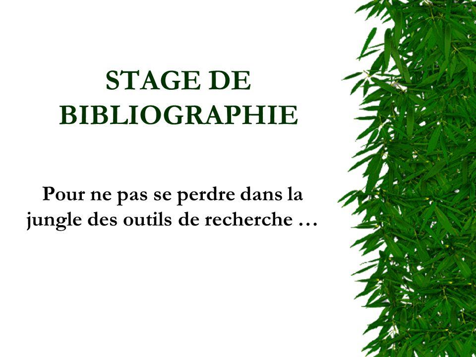 STAGE DE BIBLIOGRAPHIE Pour ne pas se perdre dans la jungle des outils de recherche …