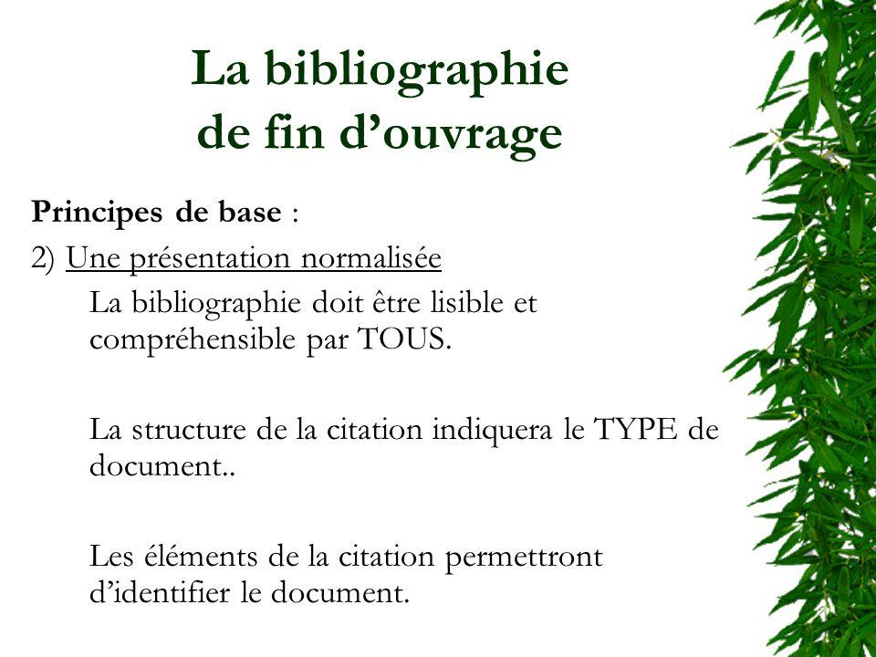 La bibliographie de fin douvrage Principes de base : 2) Une présentation normalisée La bibliographie doit être lisible et compréhensible par TOUS. La