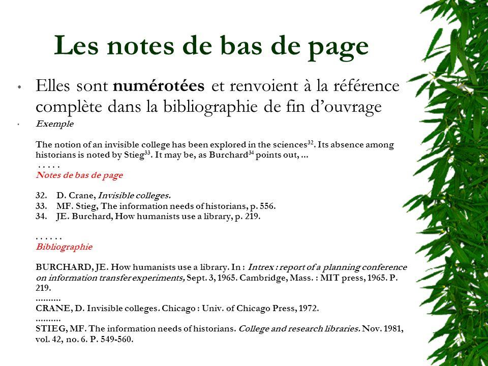 Les notes de bas de page Elles sont numérotées et renvoient à la référence complète dans la bibliographie de fin douvrage Exemple The notion of an invisible college has been explored in the sciences 32.
