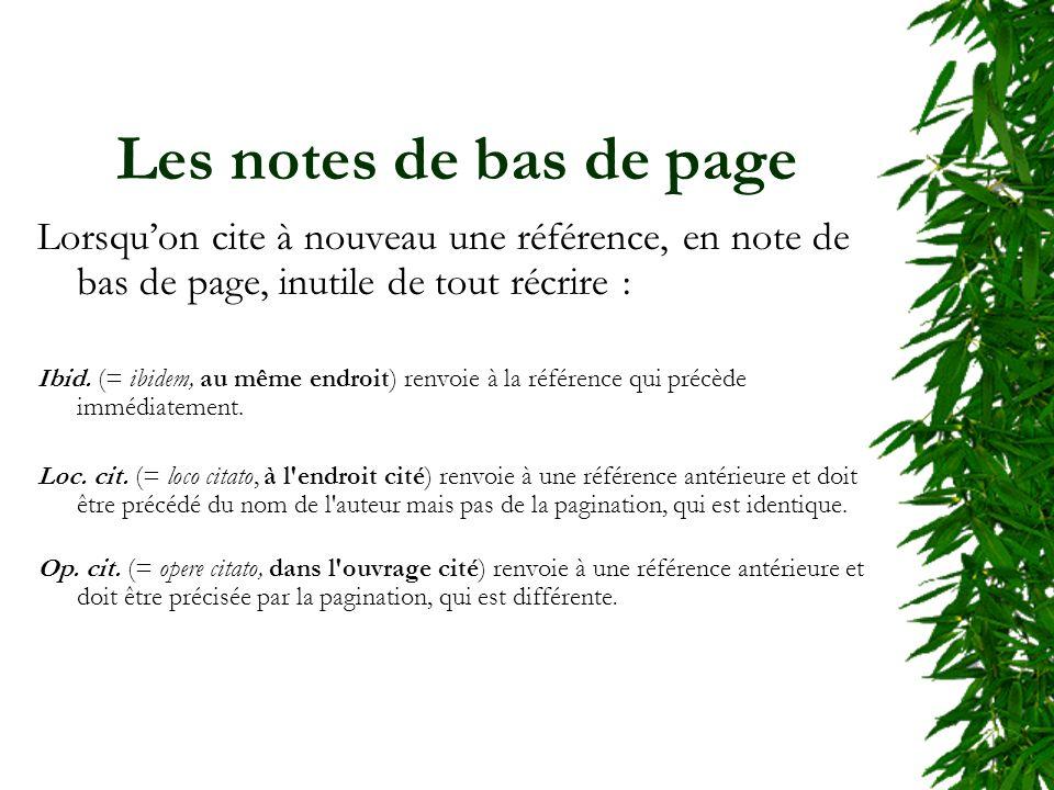 Les notes de bas de page Lorsquon cite à nouveau une référence, en note de bas de page, inutile de tout récrire : Ibid. (= ibidem, au même endroit) re