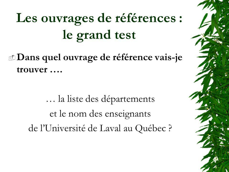 Les ouvrages de références : le grand test Dans quel ouvrage de référence vais-je trouver …. … la liste des départements et le nom des enseignants de