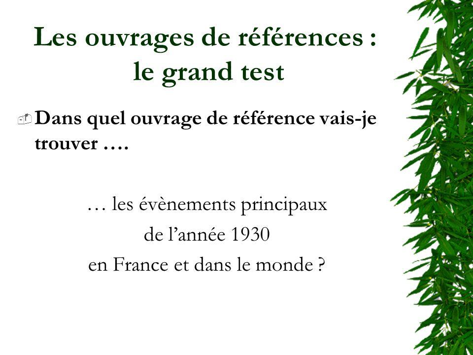 Les ouvrages de références : le grand test Dans quel ouvrage de référence vais-je trouver …. … les évènements principaux de lannée 1930 en France et d