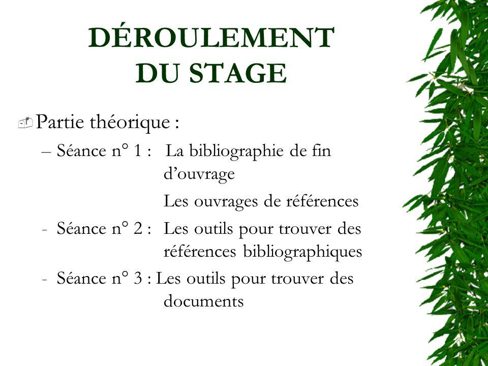 DÉROULEMENT DU STAGE Partie théorique : –Séance n° 1 : La bibliographie de fin douvrage Les ouvrages de références -Séance n° 2 : Les outils pour trou