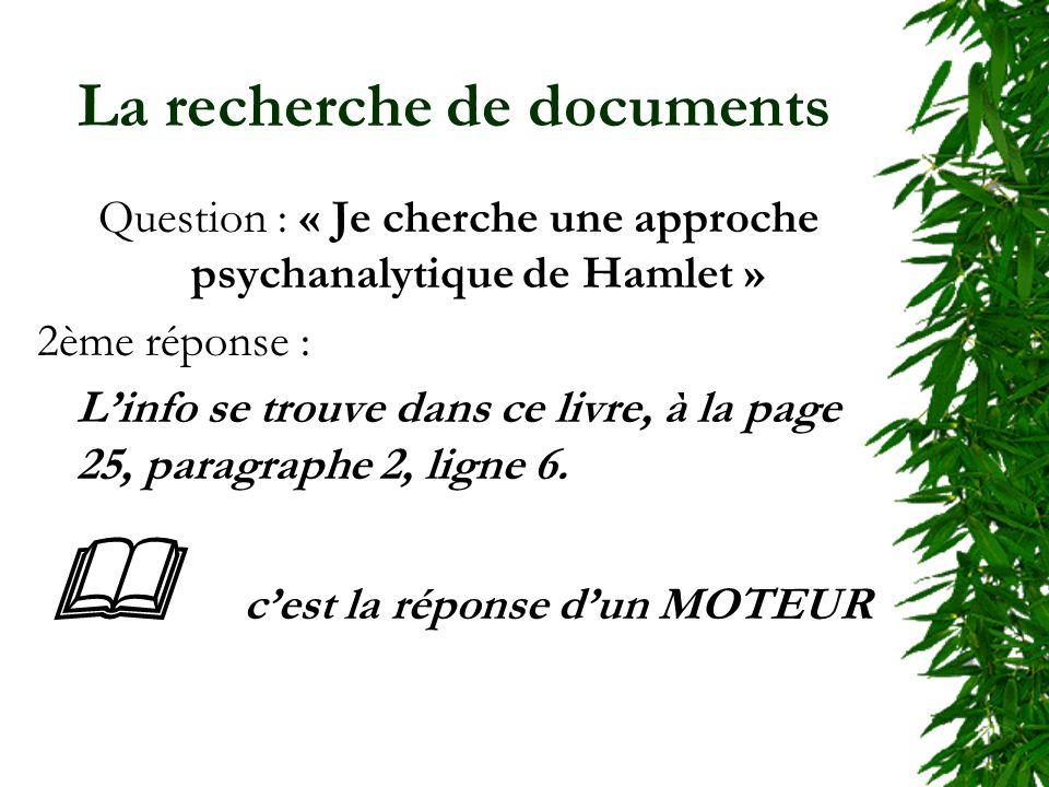 La recherche de documents Question : « Je cherche une approche psychanalytique de Hamlet » 2ème réponse : Linfo se trouve dans ce livre, à la page 25, paragraphe 2, ligne 6.