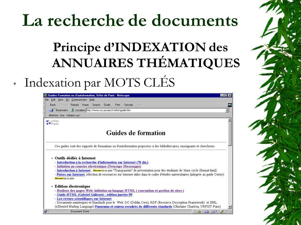 La recherche de documents Principe dINDEXATION des ANNUAIRES THÉMATIQUES Indexation par MOTS CLÉS