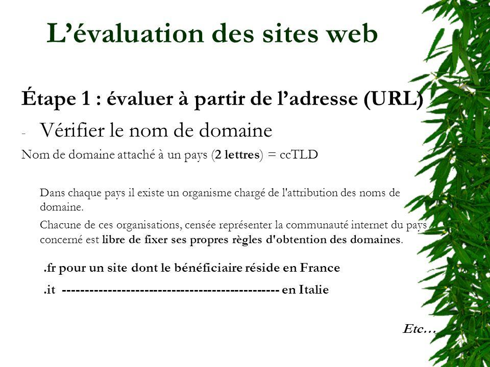 Lévaluation des sites web Étape 1 : évaluer à partir de ladresse (URL) - Vérifier le nom de domaine Nom de domaine attaché à un pays (2 lettres) = ccTLD Dans chaque pays il existe un organisme chargé de l attribution des noms de domaine.