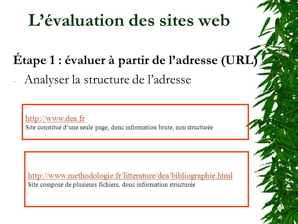 Lévaluation des sites web Étape 1 : évaluer à partir de ladresse (URL) - Analyser la structure de ladresse http://www.dea.fr Site constitué dune seule