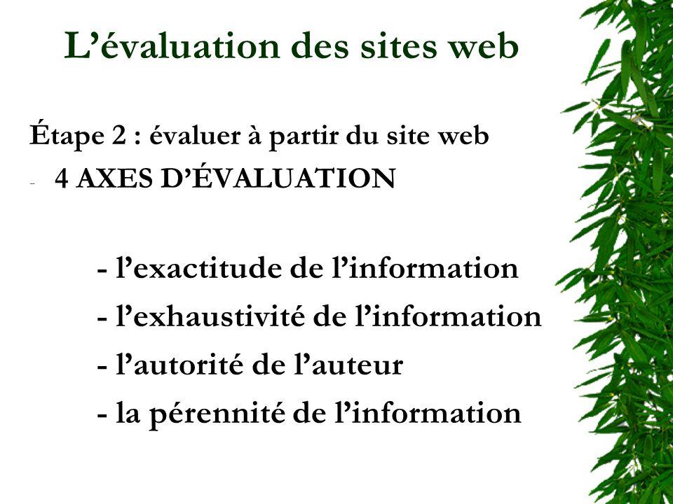 Lévaluation des sites web Étape 2 : évaluer à partir du site web - 4 AXES DÉVALUATION - lexactitude de linformation - lexhaustivité de linformation - lautorité de lauteur - la pérennité de linformation