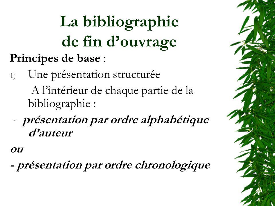 La bibliographie de fin douvrage Principes de base : 1) Une présentation structurée A lintérieur de chaque partie de la bibliographie : - présentation