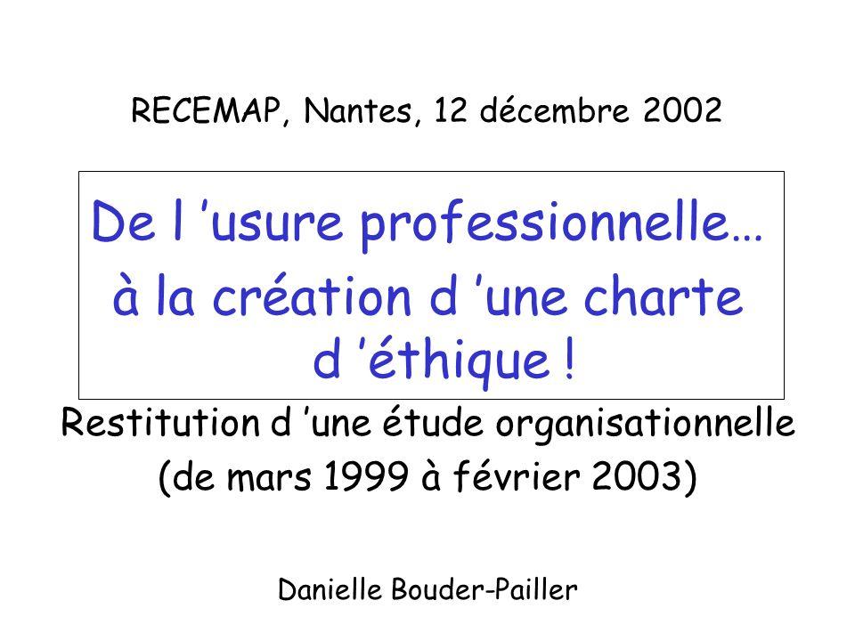 RECEMAP, Nantes, 12 décembre 2002 De l usure professionnelle… à la création d une charte d éthique .