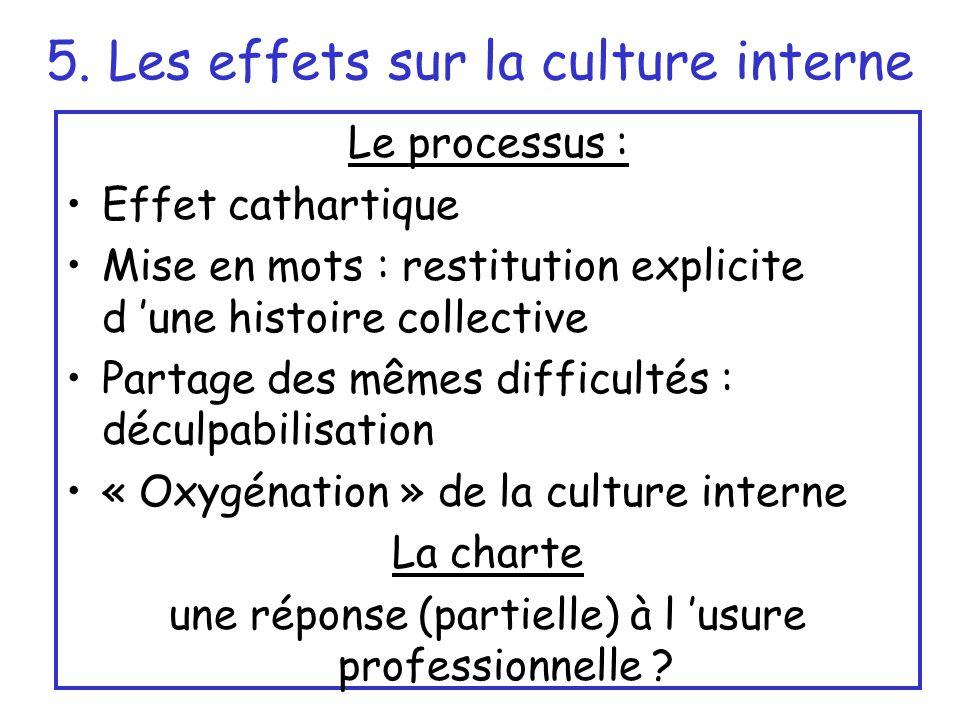 5. Les effets sur la culture interne Le processus : Effet cathartique Mise en mots : restitution explicite d une histoire collective Partage des mêmes