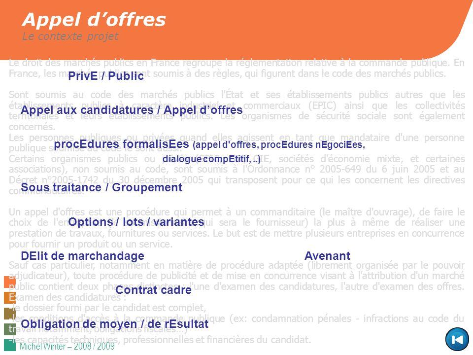 Michel Winter – 2008 / 2009 Appel doffres Le contexte projet Le droit des marchés publics en France regroupe la réglementation relative à la commande