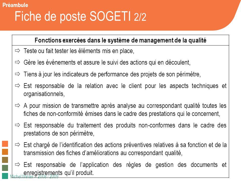 Michel Winter – 2008 / 2009 Fiche de poste SOGETI 2/2 Fonctions exercées dans le système de management de la qualité Teste ou fait tester les éléments