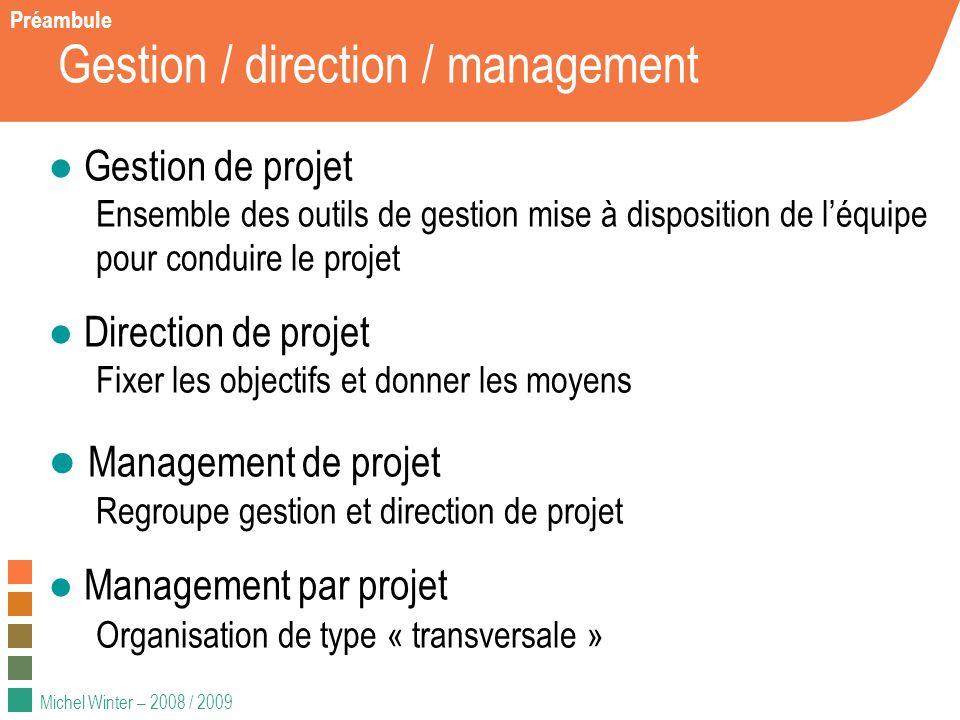 Michel Winter – 2008 / 2009 Gestion / direction / management Gestion de projet Ensemble des outils de gestion mise à disposition de léquipe pour condu