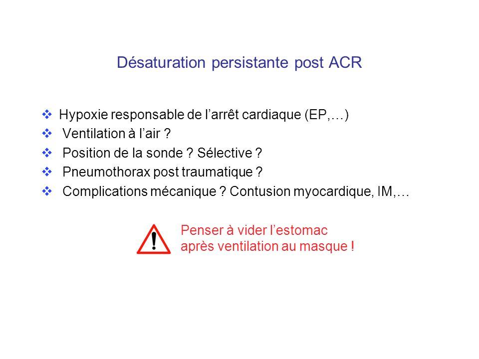 Désaturation persistante post ACR Hypoxie responsable de larrêt cardiaque (EP,…) Ventilation à lair ? Position de la sonde ? Sélective ? Pneumothorax