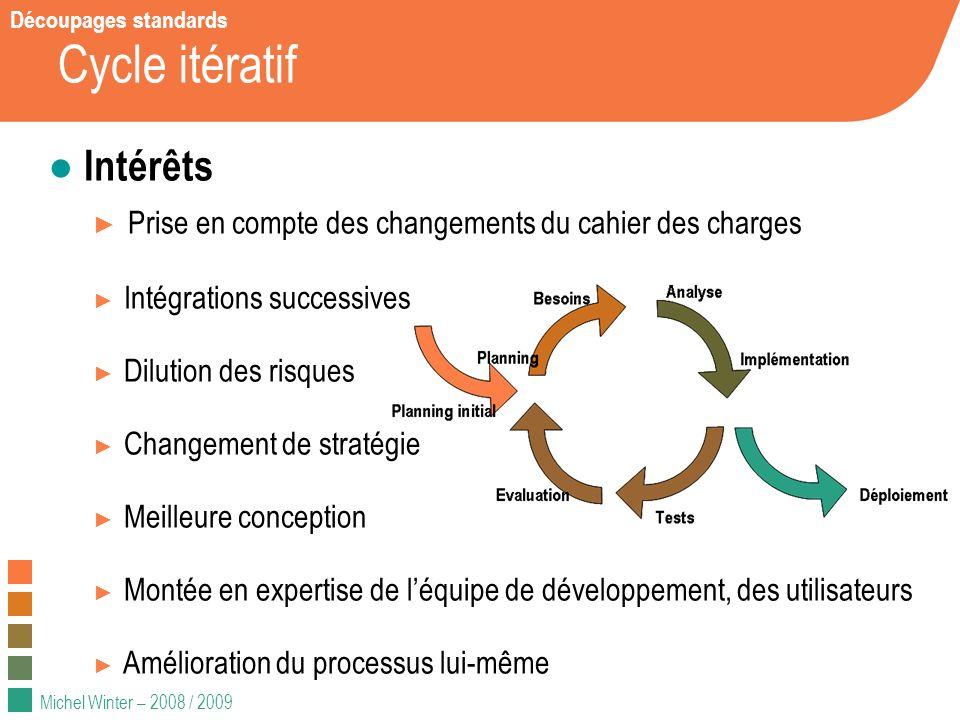 Michel Winter – 2008 / 2009 Cycle itératif Intérêts Prise en compte des changements du cahier des charges Intégrations successives Dilution des risque