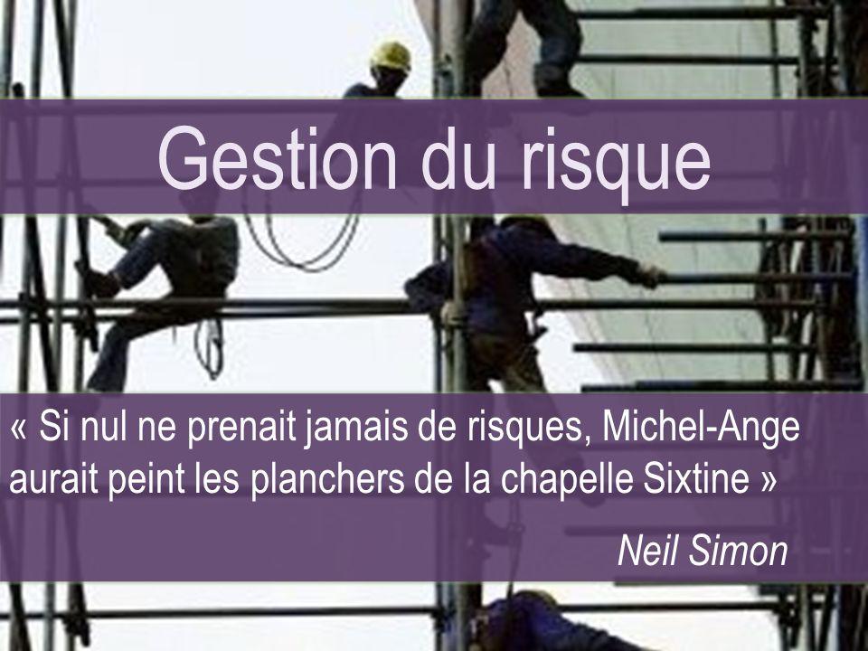 Le Risque Gestion du risque « Si nul ne prenait jamais de risques, Michel-Ange aurait peint les planchers de la chapelle Sixtine » Neil Simon