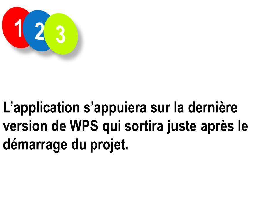 Lapplication sappuiera sur la dernière version de WPS qui sortira juste après le démarrage du projet.