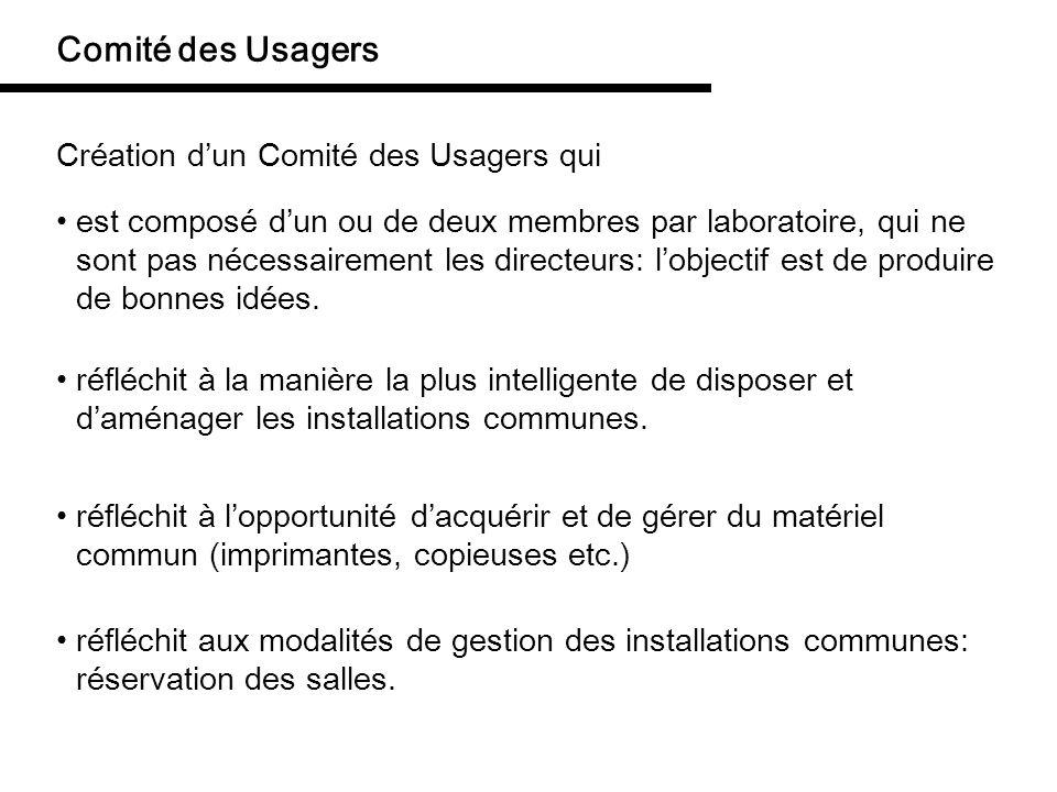 Comité des Usagers Création dun Comité des Usagers qui est composé dun ou de deux membres par laboratoire, qui ne sont pas nécessairement les directeu