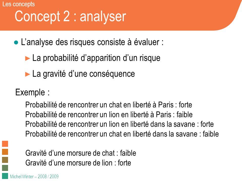 Michel Winter – 2008 / 2009 Concept 2 : analyser Lanalyse des risques consiste à évaluer : La probabilité dapparition dun risque La gravité dune consé