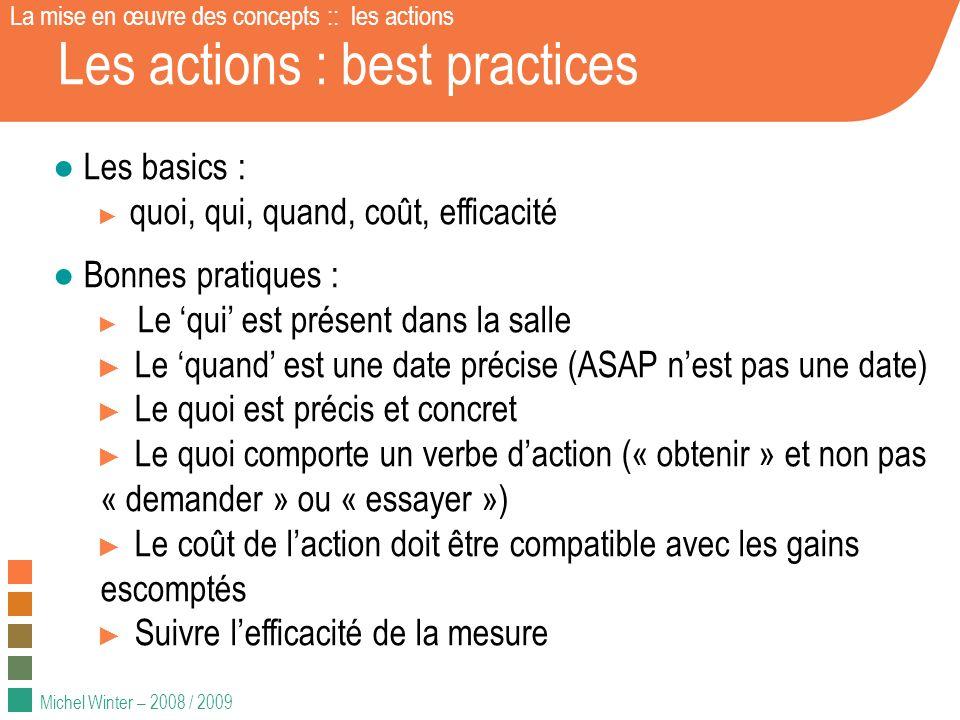 Michel Winter – 2008 / 2009 Les actions : best practices Les basics : quoi, qui, quand, coût, efficacité Bonnes pratiques : Le qui est présent dans la