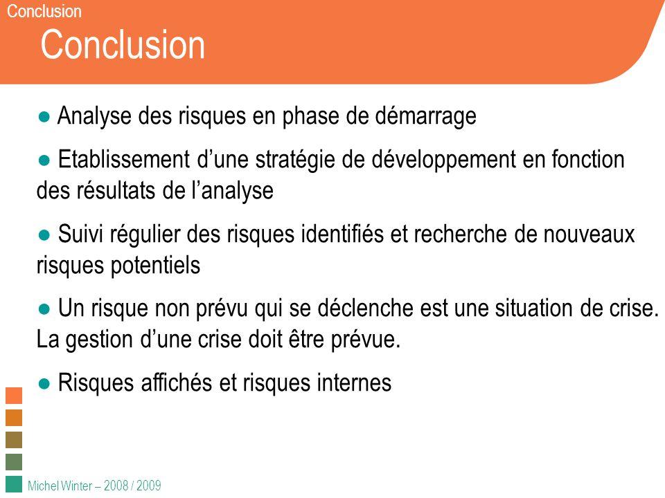 Michel Winter – 2008 / 2009 Conclusion Analyse des risques en phase de démarrage Etablissement dune stratégie de développement en fonction des résulta