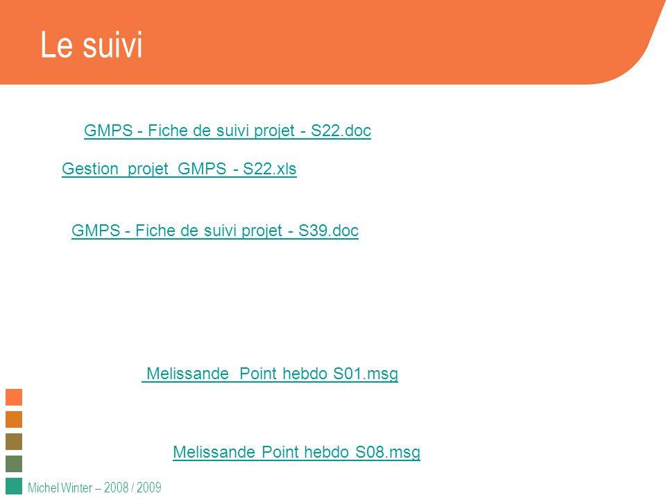 Michel Winter – 2008 / 2009 Le suivi GMPS - Fiche de suivi projet - S22.doc Gestion_projet_GMPS - S22.xls GMPS - Fiche de suivi projet - S39.doc Melis