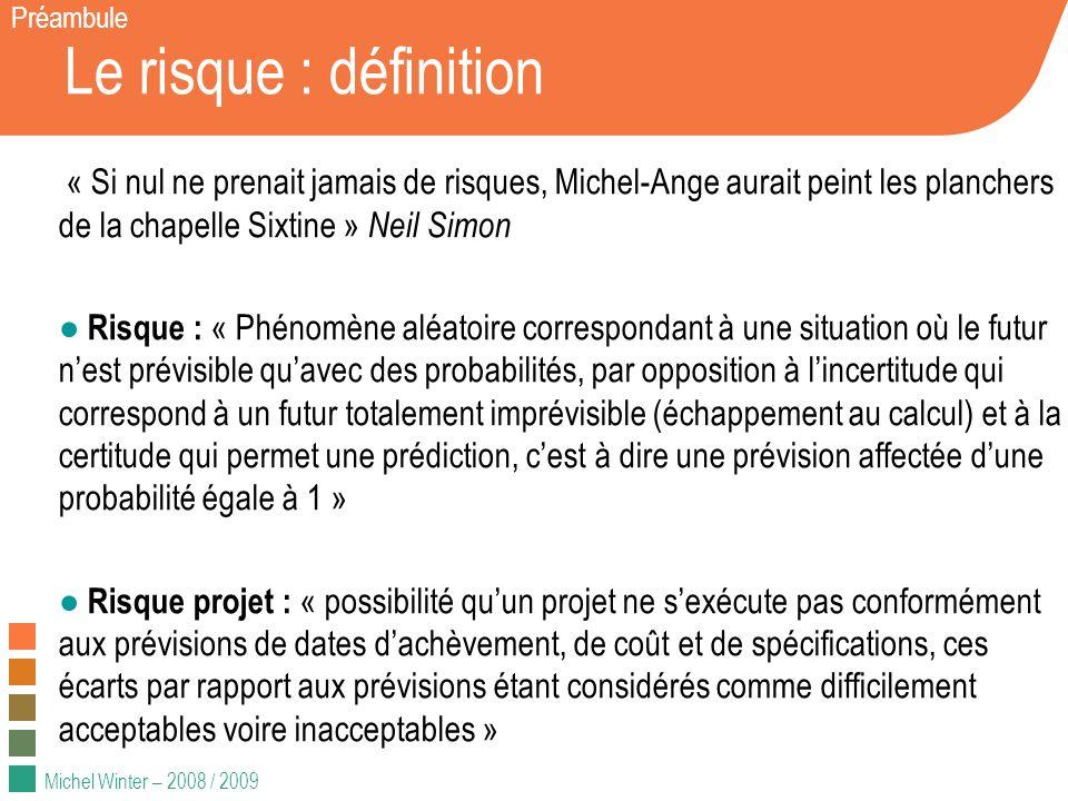Michel Winter – 2008 / 2009 Le risque : définition Préambule « Si nul ne prenait jamais de risques, Michel-Ange aurait peint les planchers de la chape