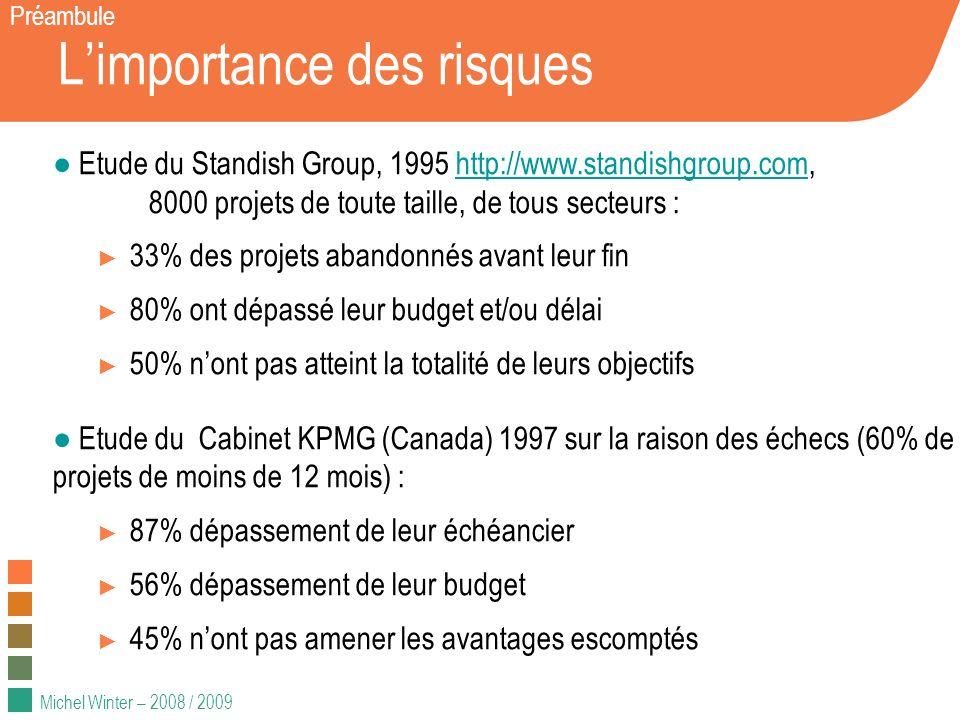 Michel Winter – 2008 / 2009 Limportance des risques Préambule Etude du Standish Group, 1995 http://www.standishgroup.com, 8000 projets de toute taille