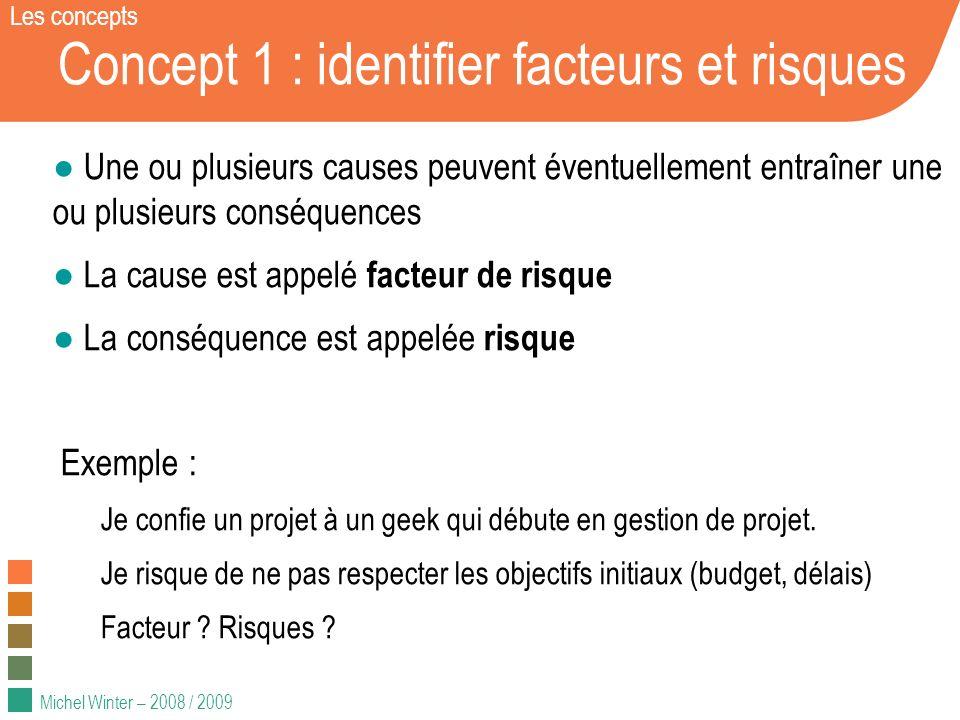 Michel Winter – 2008 / 2009 Concept 1 : identifier facteurs et risques Une ou plusieurs causes peuvent éventuellement entraîner une ou plusieurs consé