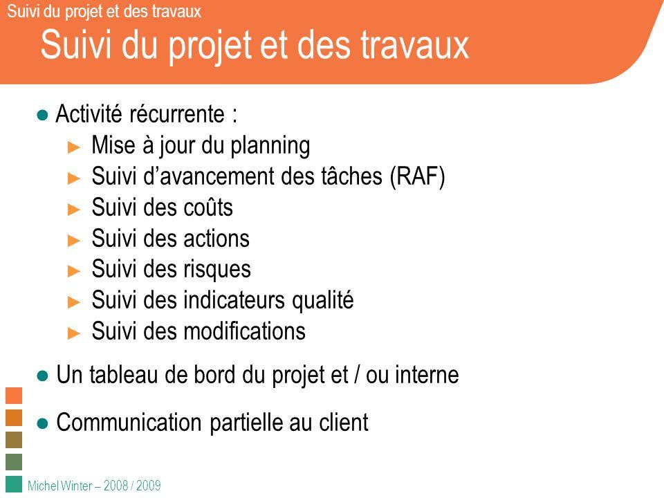 Michel Winter – 2008 / 2009 Suivi du projet et des travaux Activité récurrente : Mise à jour du planning Suivi davancement des tâches (RAF) Suivi des