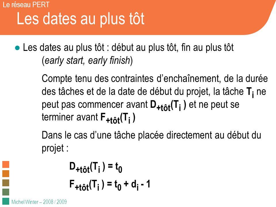 Michel Winter – 2008 / 2009 Les dates au plus tôt Le réseau PERT Les dates au plus tôt : début au plus tôt, fin au plus tôt ( early start, early finis