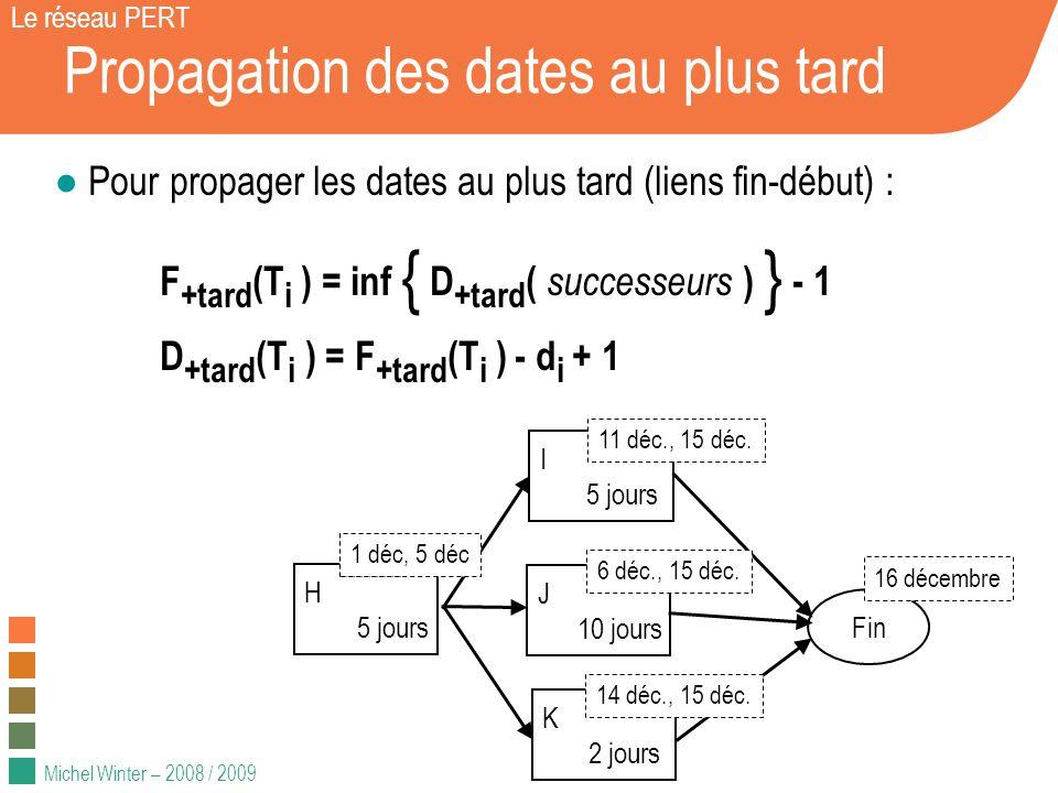 Michel Winter – 2008 / 2009 Propagation des dates au plus tard Le réseau PERT Pour propager les dates au plus tard (liens fin-début) : F +tard (T i )