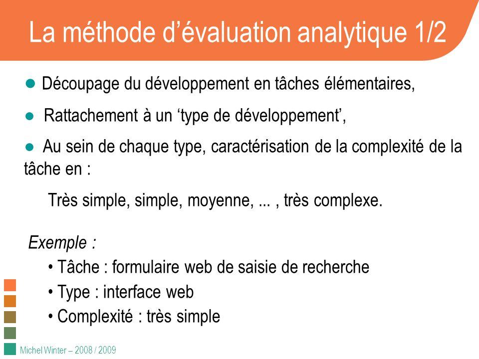 Michel Winter – 2008 / 2009 La méthode dévaluation analytique 1/2 Découpage du développement en tâches élémentaires, Rattachement à un type de dévelop