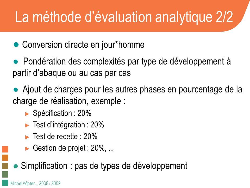 Michel Winter – 2008 / 2009 La méthode dévaluation analytique 2/2 Conversion directe en jour*homme Pondération des complexités par type de développeme