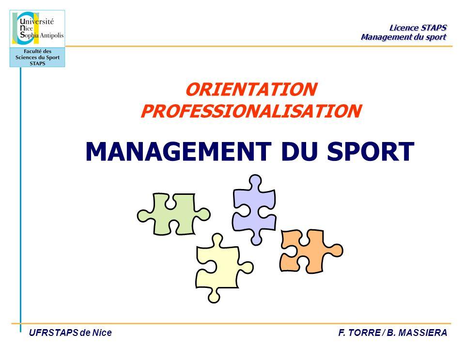Licence STAPS Management du sport UFRSTAPS de NiceF. TORRE / B. MASSIERA ORIENTATION PROFESSIONALISATION MANAGEMENT DU SPORT